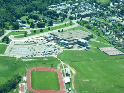 An aerial view of Hilton High School - click for larger image