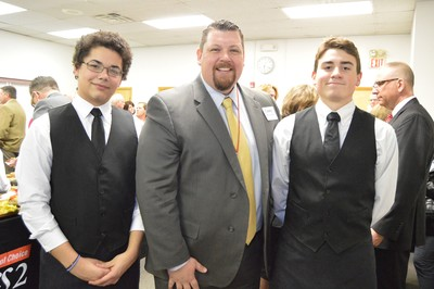 WEMOCO Culinary Arts students Mark Greene and Zach Williams with Superintendent Dr. Casey Kosiorek